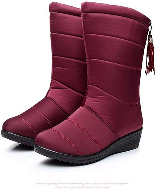 Women's Fur Down Fringe Fashion Waterproof Frosty Warm Winter Snow Boot