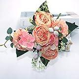 MQH Flor Artificial 4 Colores Hermosa Rosa peonía Fake Seda Flor pequeña Ramo Flor en casa Fiesta Primavera Boda decoración de Bricolaje Decoración (Color : Style2 Dark Pink)