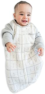 TEALBEE Baby: Sleeping Sack with Sleeves for Babies - Bamboo & Cotton Wearable Blanket for Safe Sleep - Keeps Newborn and Infant Warm with Arms - Unisex for Boys and Girls (Small, White & Grey)