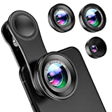 Criacr Phone Camera Lens Kit, 3 in 1 Phone Lens Kit for for iPhone, Samsung, Pixel, other Smartphones, Macro Lend + Wide Angle Lens + Fisheye Lens