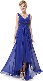 Ever-Pretty Women's V Neck Floor Length A Line Empire Waist Hi-Low Long Elegant Chiffon Evening Dresses 09983