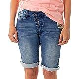 Buena Vista Damen Jeans Malibu Krempel Shorts Bermuda Hose Capri Joggpants Sweat Denim (S, Denim)