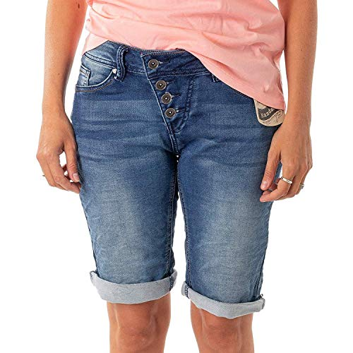 Buena Vista Damen Jeans Malibu Krempel Shorts Bermuda Hose Capri Joggpants Sweat Denim (XS, Denim)