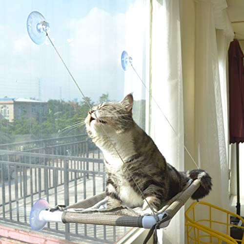 Cat Window Perch, Cat Hammock Window Seat, Space Saving Window Mounted Cat Bed for Large Cats (Beige Premium Set)