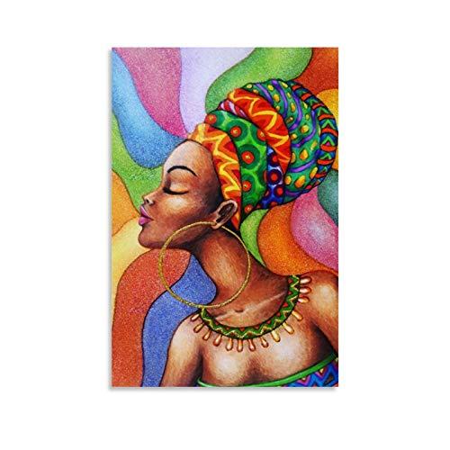 Póster de mujer africana en lienzo de cera en color póster y arte de pared, moderno póster de decoración de dormitorio familiar de 60 x 90 cm