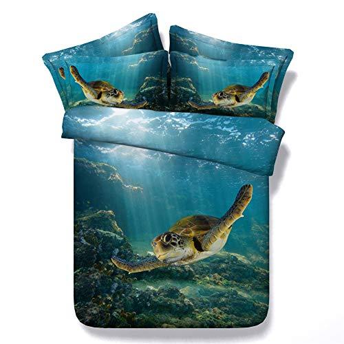 Royallinens 3 pcs Vert Océan et tortue de mer Impression numérique HD Parure de lit Single Queen Super king size avec 1 housse de couette + 2 Taie d'oreiller, Coton, Jf079, King size 3pcs