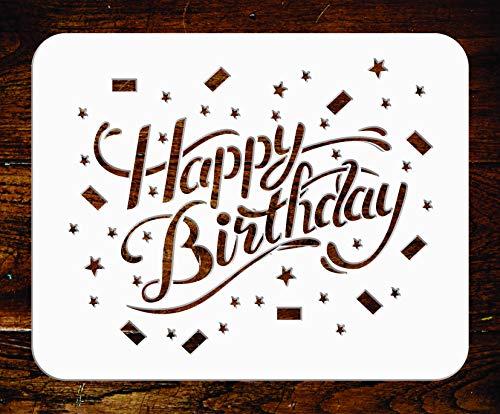 Happy Birthday Schablone – 14 x 11,5 cm – Wiederverwendbare Zitat Schild Wörter Wand Schablone – Verwendung für Papierprojekte, Scrapbook, Tagebuch, Wände, Böden, Stoff, Möbel, Glas, Holz usw.