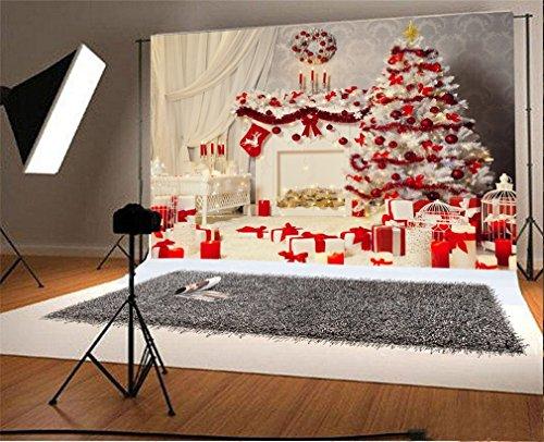 YongFoto 3x2m foto achtergrond kerstboom geschenken open haard kous slinger wit gordijn lantaarn interieur Vrolijk jaar fotografie achtergrond foto kinderen bruiloft fotostudio