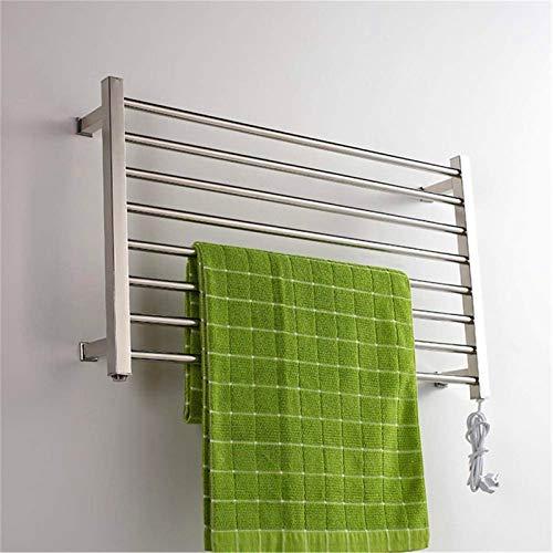 Toallero Eléctrico Bajo Consumo Calentador de toallas, calentador de toallas calientes, calentador de toalla eléctrica montada en la pared, perchero de secado 304 acero inoxidable 8-bar 150W, 530x900x