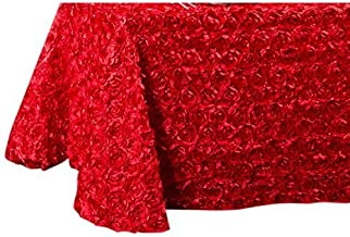 LinenTablecloth Rosette Satin Rectangular Tablecloth, 88 by 154-Inch, Red