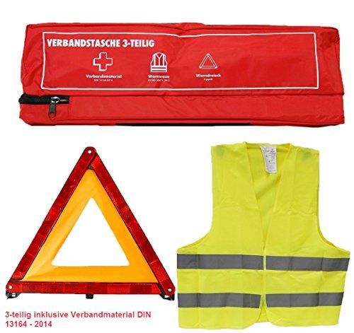 KFZ Erste Hilfe Sicherheitsset 3-teilig: Verbandstasche/Warndreieck/Warnweste DIN 13164 Verbandskasten 620147 rot