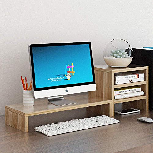 HJRD Monitorstandaard, universele houten monitorstandaard, pennenhouder met lade, nekbescherming, bureau-monitor, 2 niveaus monitor, voor computer, laptop, bureau, A