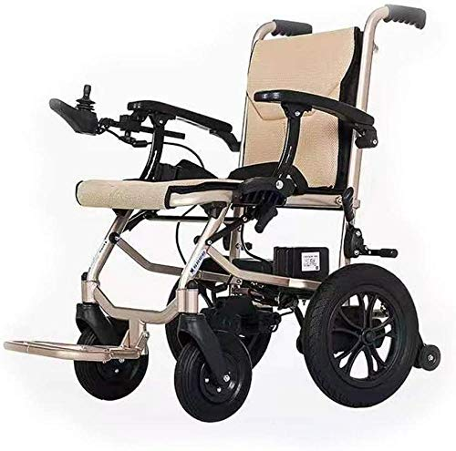GYPPG Aluminum Electric Wheelchair Lightweight Foldable Dual control Transport Chair adjustable arm rests elderly and Handicapped dedicated Transit Travel Chair
