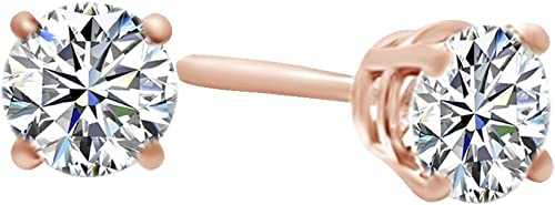 0,50 rat Rundschliff Weißnatürlicher Diamant Solitaire Korb OhrStücker in 14  585 ssiv WeißGold