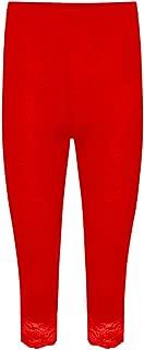 Janisramone Womens Ladies New Lace Trim Plain 3/4 Length Leggings Gym Stretch Capri Cropped Jogging Pants