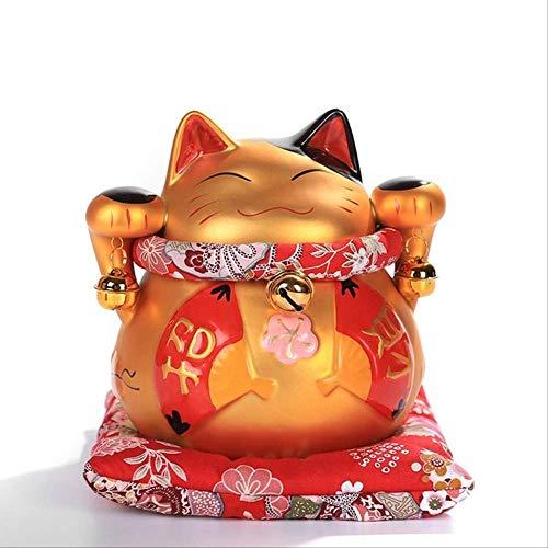 VFJLR 6 Pouces en céramique dorée Maneki Neko Statue Chanceux Chat Tirelire Feng Shui Figurine...