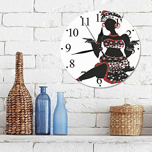 Silencioso Wall Clock Decoración de hogar de Reloj de Redondo,Mujer africana, señora local, vestido con estampado étnico indígena, gesto, silueta decorat,para Hogar, Sala de Estar, el Aula
