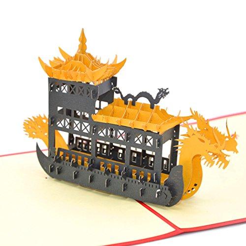 medigy 3D Pop up Grußkarten blanko Karten für die meisten occastions (Dragon Boot) Black Boat