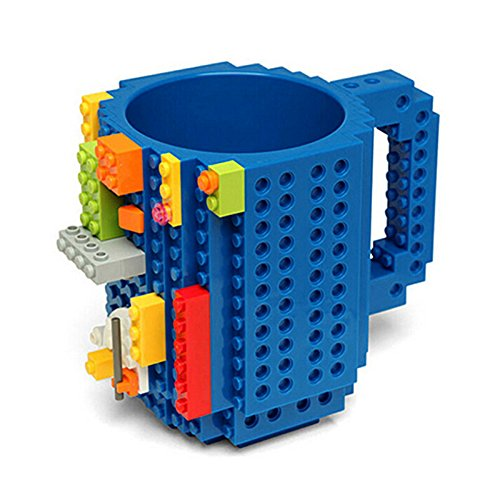 AnySell DIY Bausteine Tasse Build-on Brick Mug Kaffeetasse DIY Kreative Bausteine Kaffee Tee Getränk Trinken Lustiges Geschenk Blau