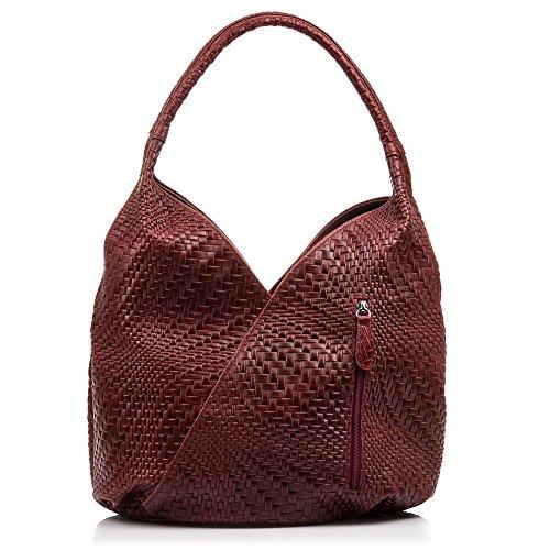 FIRENZE ARTEGIANI.borsa shopping bag donna vera pelle.Borsa vera pelle cuoio inciso motivi trecce geometrico e laccato. MADE IN ITALY. VERA PELLE ITALIANA. 33x33x18 cm. Color: GRIGIO