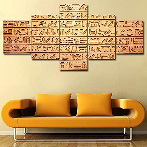 FGART 5 Piezas de Lienzo, Arte de Pared, jeroglíficos egipcios en Cuadros de Pared para Sala de Estar, Pinturas Marrones Vintage, Impresiones, Ilustraciones, decoración Moderna para el hogar