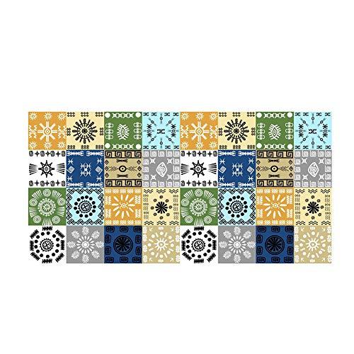 Garretlin - Adhesivos para suelo de baldosa marroquí para baño, sala de estar, cocina, inodoro, antideslizante, resistente al agua y al desgaste, 3D para decoración del hogar, pvc, 5#, talla única