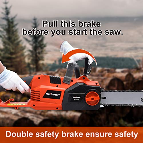 MaxLander Electric Chainsaw, 15Amp Corded Chainsaw,15m/s Driect Drive with 18 Inch Chain and Bar Tool Less Chain Tension,Professional Powerful Fast Cut