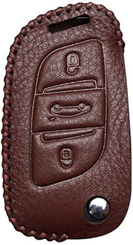 HAHASG Funda de Cuero para Llaves de Coche Funda Protectora para Llaves Shell Skin Bag Only., para Citroen C2 C3 C4 Coupé VTR Berlingo C6 C8-Marrón