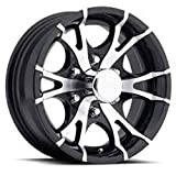 15 Inch T07 Black Machined Aluminum 6 Bolt Trailer Rim 2830 lb Capacity