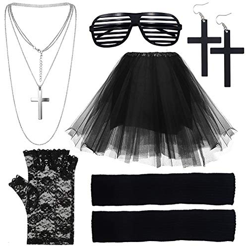 Women's Madonna 80s Black Costume Set with Stretch Waist Skirt and Accessories