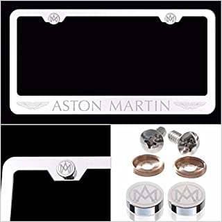 Fit Aston Martin Laser Engraved License Plate Frame Made of Industrial Grade Mirror Finished Chrome Stainless Steel w/ Caps and Accessories