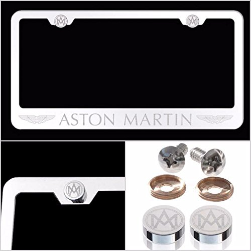 UFRAME Fit Aston Martin Laser Engraved License Plate Frame Made of Industrial Grade Mirror Finished Chrome Stainless Steel w/Caps and Accessories