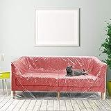 DECARETA Sofa Staubschutzhülle Plastik Sofahülle 2 * 3M Moving Möbelhülle Wasserdicht Möbelabdeckung Couchhülle Transparent Kunststoff Möbel Abdeckung für Sessel Couch Möbel Umzug Renovierung