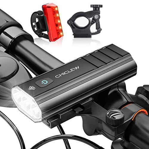 CHICLEW Luces Bicicleta Delantera y Trasera, 5200mAh Luz LED Bicicleta Súper Brillantes, IP65 Impermeable Luz Bici con 2 Soportes, 5 Modos Ajustables de Brillo Luces Bicicleta de Carretera y Montaña