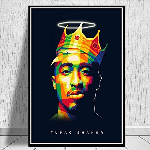 WCLGDJ Hip Hop Gangsta Rap Sänger Figur Kunst Leinwand Malerei Tupac Shakur 2PAC Wandkunst Poster und druckt Wandbilder für Wohnkultur 40x60cm Rahmenlos