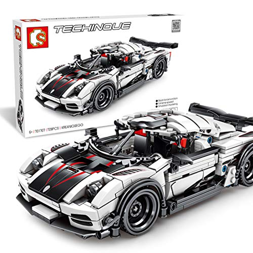 Searchyou Technik Sportwagen Bausteine Modell, 728+ Teile Sport Rennwagen Auto Baukasten Spielzeug für Kinder Erwachsene, kompatibel mit Lego