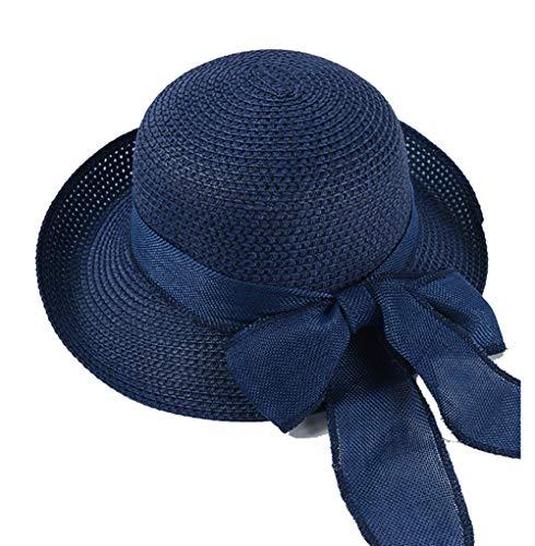 Sombrero De Paja De Verano para Mujer Sombrero De Sol De ala Ancha para Mujer Bowknot Al Aire Libre Sombrero De Paja UPF30 +