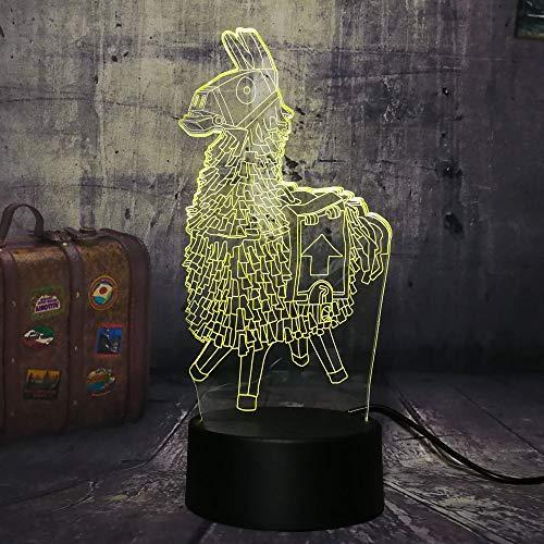 jiushixw 3D acryl nachtlampje met afstandsbediening van kleur veranderende tafellamp houten paard box grote escape spel kind lava slaapkamer tafellamp lila