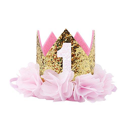 COUXILY Princesa bebé Flor Corona Diadema cumpleaños Accesorios para el Cabello un (CG01)