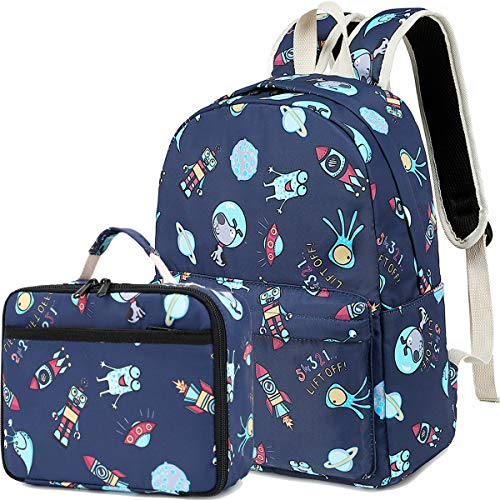 CAMTOP Backpack for Kids Boys School Backpack with Lunch Bag Preschool Kindergarten BookBag Set (Y031-2 Rocket-Navy Blue)