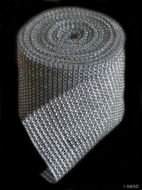 Diamante Look Ribbon Wide Trim 12cm x appx 10m (Silver)