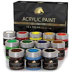 small Acrylic paint set – 12 x 100 ml bottle – Heavy body – Light resistant paint – Artistic quality – MyArtscape