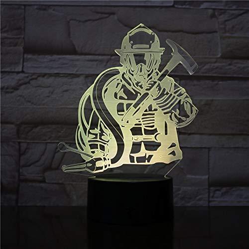 Bombero Modelado luz Nocturna Bombero Creativo lámpara de Escritorio decoración del hogar Cambio de Color iluminación del sueño Regalo de los niños
