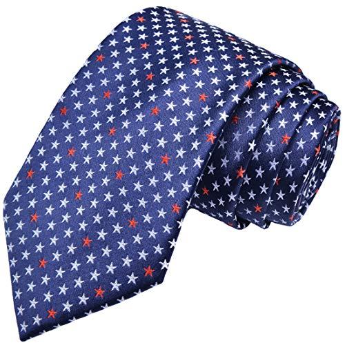 KissTies Blue Ties Silk Patriotic Tie US Stars Necktie 4th Of July + Gift Box