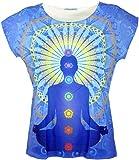 GURU-SHOP, Camiseta Psytrance, Camiseta Yoga, Camiseta Retro, 7 Chakras, Sintético, Tamaño:38, Camisetas, Camisetas, Camisetas