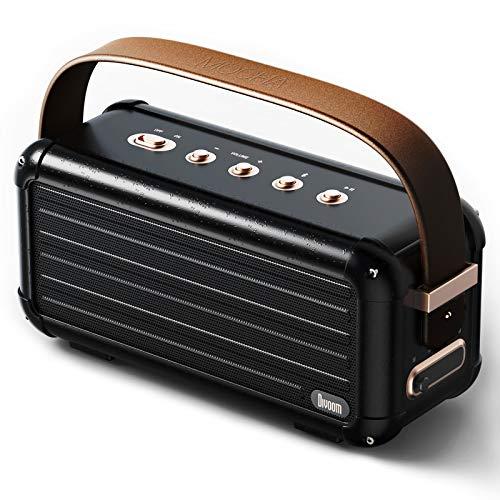 Divoom Mocha 40W Retro Bluetooth Lautsprecher, 25h Spielzeit Hi-Fi Musikbox mit Kraftvoller Bass, Geeignet für Familien Versammlung und Party, USB C Konnektivität (schwarz)