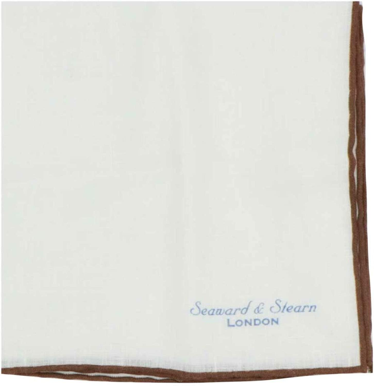 Seaward & Stearn Men's Linen Pocket Square With Trim