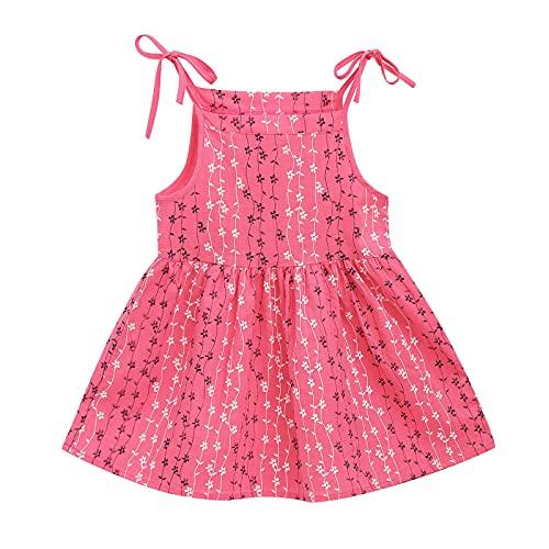 WOYAOFEI Babykleid Neugeborenes Baby Mädchen Ärmelloses Streifen Slip Kleid Strand Prinzessin Kleid für 8 Monate-6 Jahre Kinder Baumwoll- und Leinen Hosenträger Rock ärmellose Prinzessin Kinderkleid
