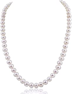 White Freshwater Cultured Pearl Necklace A Quality (6.5-7.0mm), Rhodium-Plated-Base-Metal Clasp