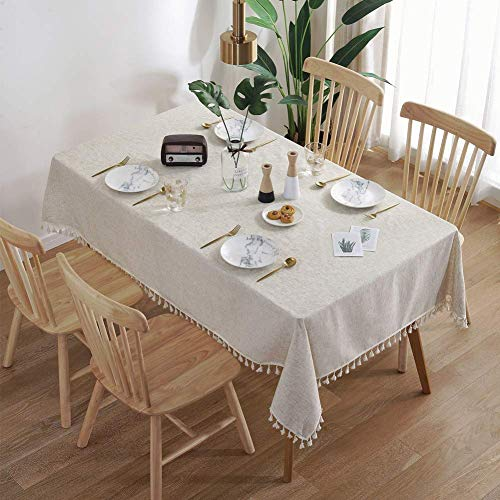 mxjxj Tischdecke rechteckige Tischdecke Baumwolltuch Tuch einfach Quaste Tischdeckel Wärme und Feuchtigkeitsbeständigkeit Mehrzweck innen und im Freien (Color : Solid, Size : 140+#215;160cm)